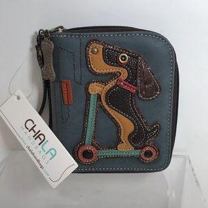 Chala Indigo Weiner Dachshund Dog Wristlet Wallet
